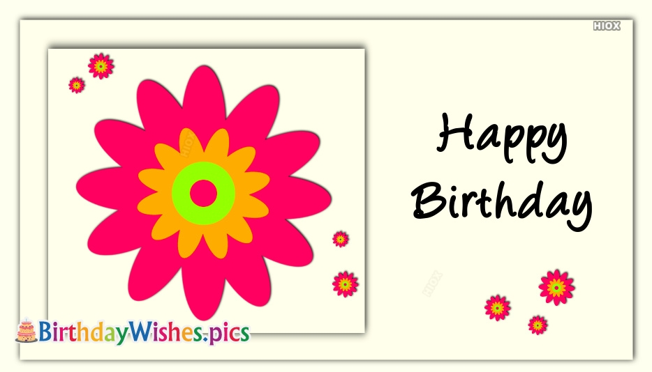 Happy Birthday Wishes With Pink Flowers
