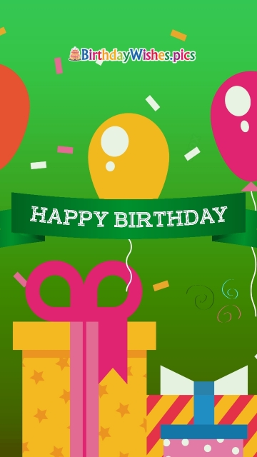 Happy Birthday Greetings in Green Background