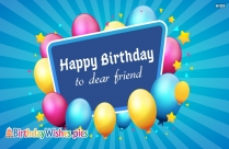Happy Birthday Dear Friend Msg